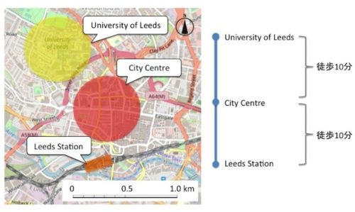 Map of Leeds Station to city centre (University of Leeds)