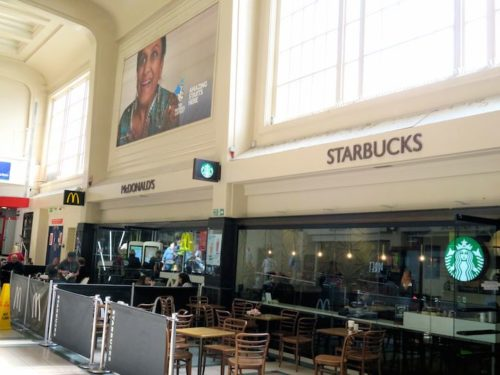 Leeds station with starbucks