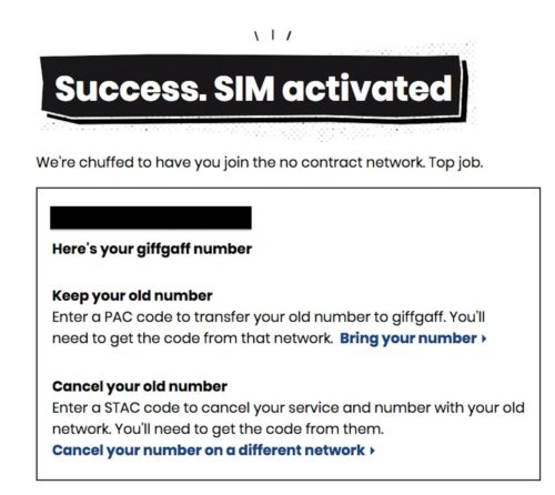 Success SIM activated