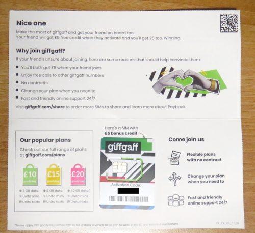 giffgaff, bonus, SIM & £5