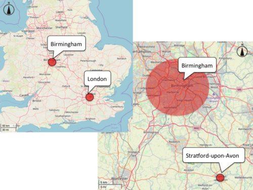 Location Map: Stratford-upon-Avon, Birmingham, London