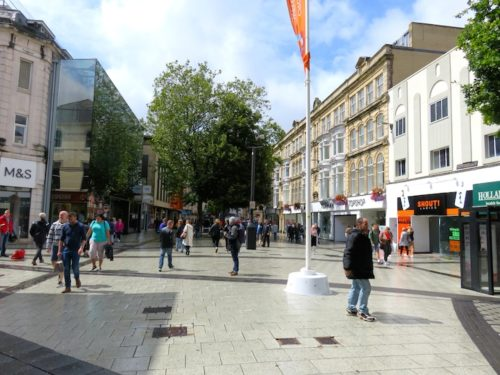 Shopping Street in Cardiff