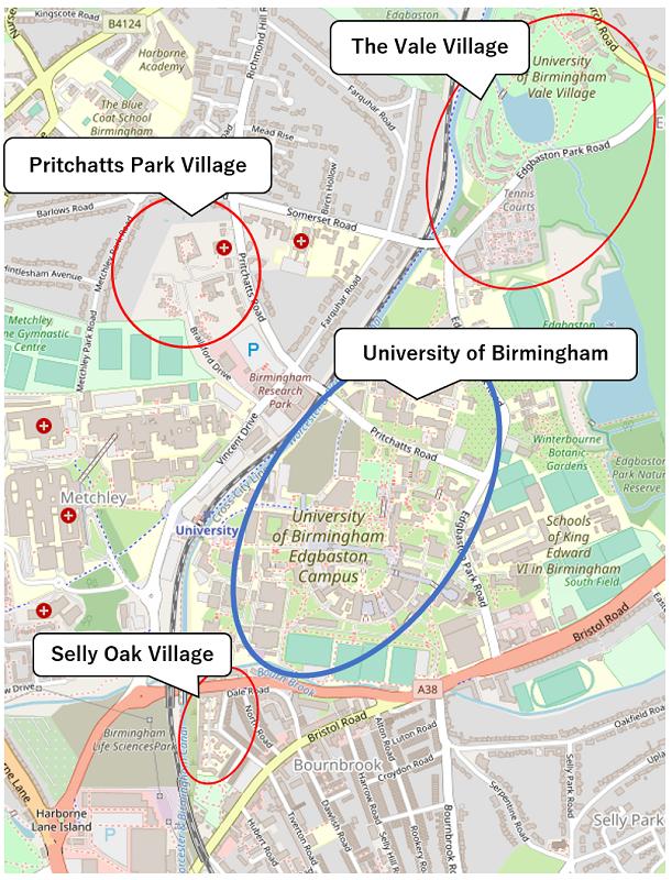 バーミンガム大学の寮の位置