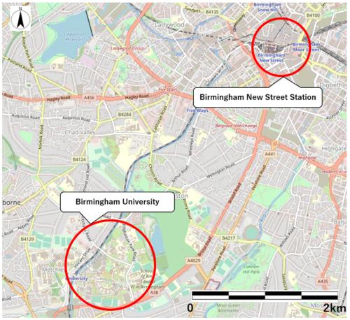 ニューストリート駅とバーミンガム大学の位置図