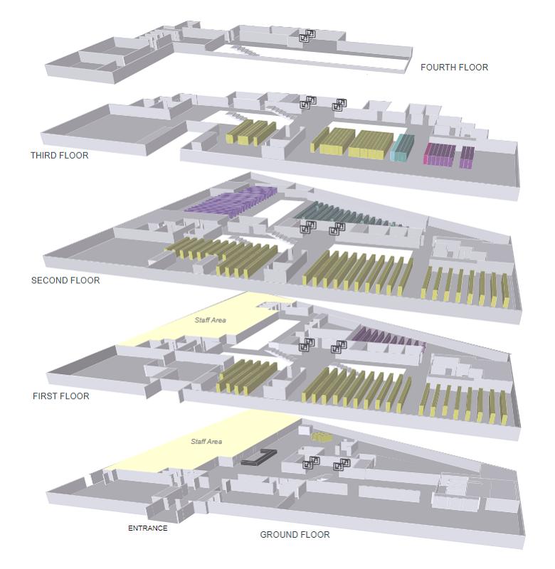 バーミンガム大学の図書館のフロアマップ