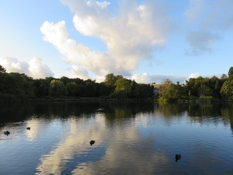 バーミンガム大学の寮にある池