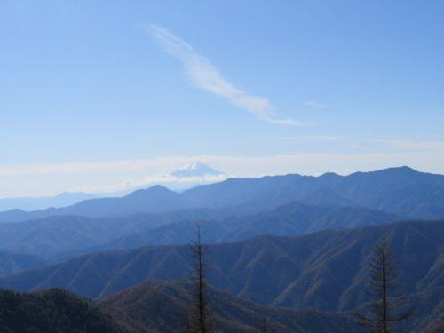 雲取山山頂から富士山を眺める