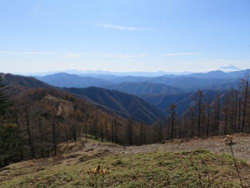 雲取山の山頂間近の景色