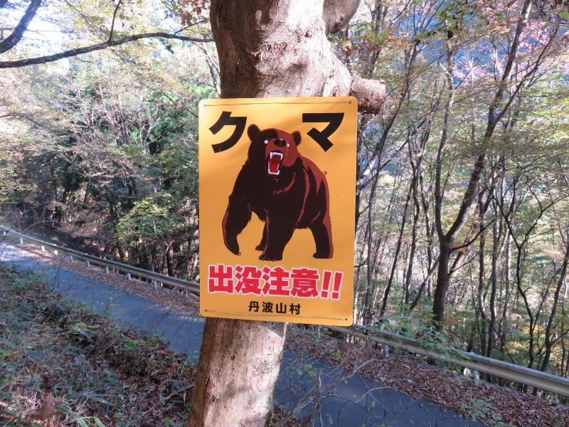 熊を注意する看板