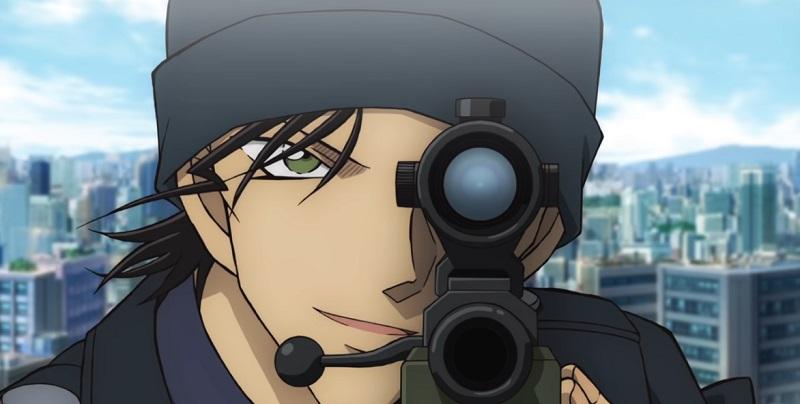 赤井秀一がショットガンで銀の銃弾を放つ前に狙いを定めるシーン