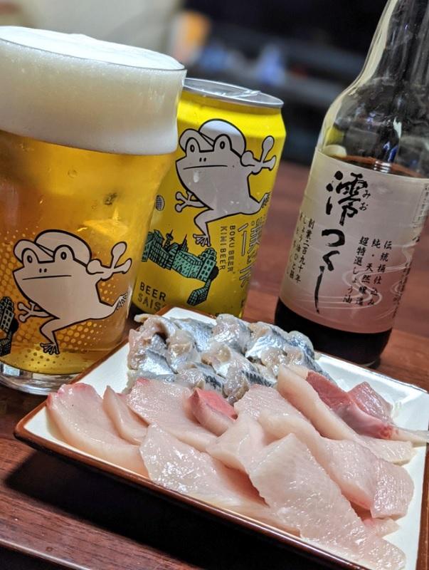 伝統醬油の澪つくしとお刺身とビール